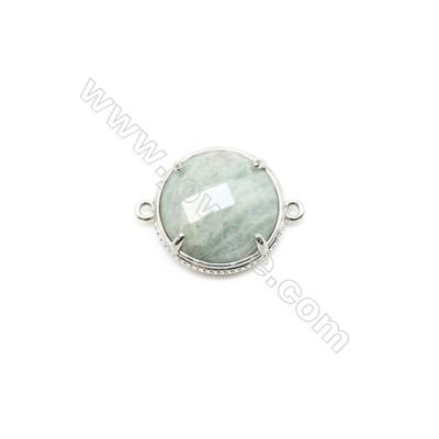Natural Round Amazonite Pendant Connector, Silver Plated Brass, Diameter 18mm, Hole 1.5mm, x 1piece
