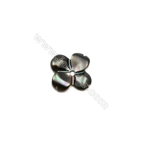 Clover-shaped shell gray mother-of-pearl, 8mm, x 50pcs/pack, hole 0.9 mm