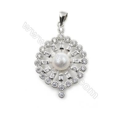 925 Sterling silver platinum plated inlaid zircon jewerly pendants-D5518 23mm x 5pcs disc diameter 7mm needle diameter 0.5mm