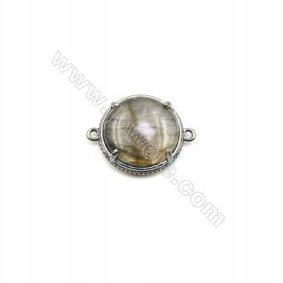 Natural Round Labradorite Pendant Connector, Black Gun Plated Brass, Diameter 18mm, Hole 1.5mm, x 1piece