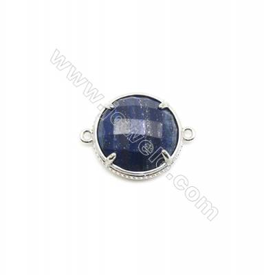 Natural Round Lapis Lazuli Pendant Connector, Silver Plated Brass, Diameter 18mm, Hole 1.5mm, x 1piece