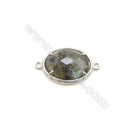 Natural Oval Labradorite Pendant Connector, Silver Plated Brass, Size 17x21mm, Hole 1.5mm, x 1piece