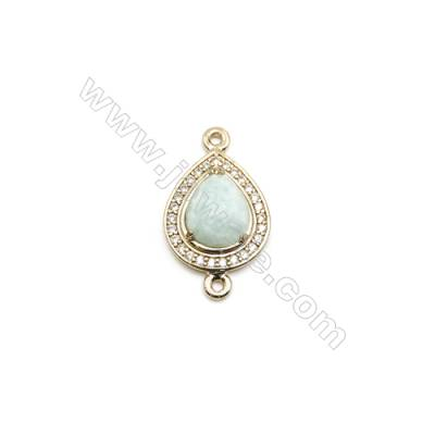 Natural Teardrop Amazonite Pendant Connector, Cubic Zirconia, Gold Plated Brass, Size 13x17mm, Hole 1.5mm, x 1piece
