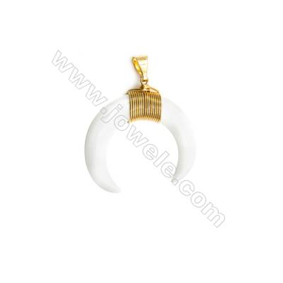 Moon White Porcelain Pendant  Black and Gold Plated Brass  Size 35x35mm  x 1piece