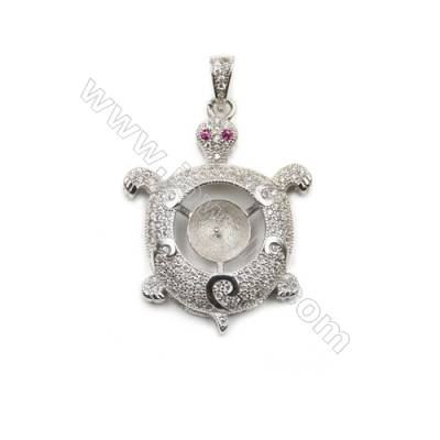 925 Sterling silver plated inlaid CZ platinum plated pendants, 26x33mm, x 5pcs, tray 8mm, needle 0.5mm