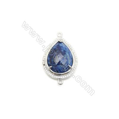 Natural Teardrop Lapis Lazuli Pendant Connector, Cubic Zirconia, Silver Plated Brass, Size 24x33mm, Hole 2mm, x 1piece