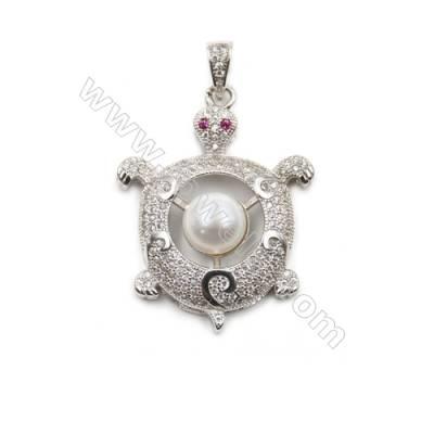925 Sterling silver plated inlaid CZ  platinum plated pendants-D5739 26x33mm x 5pcs disc diameter 8mm  needle diameter 0.5mm
