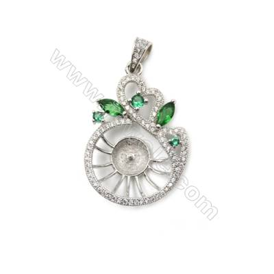 Platinum plated micro pave zircon 925 sterling silver pendant, 20x30mm, x 5 pcs, tray 7mm, needle 0.6mm