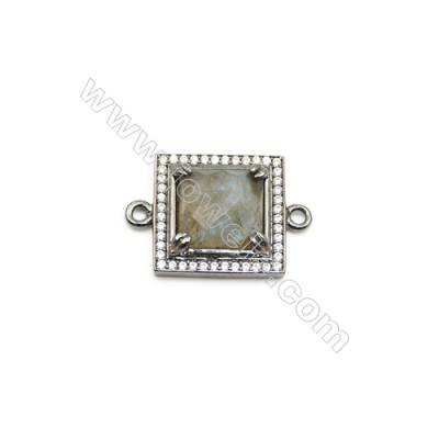 Natural Square Labradorite Pendant Connector, Cubic Zirconia, Black Gun Plated Brass, Size 18x18mm, Hole 1.5mm, x 1piece