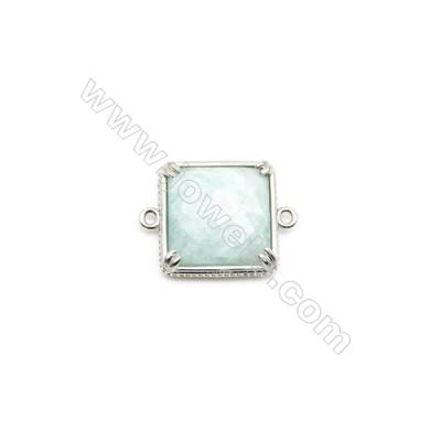 Natural Square Amazonite Pendant Connector, Silver Plated Brass, Size 21x21mm, Hole 1.5mm, x 1piece