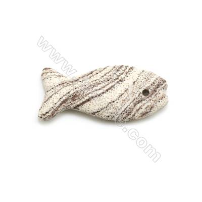 White Lava Rock Pendant Charms, Fish, Size 32x73mm, Hole 4mm, 25pcs/pack