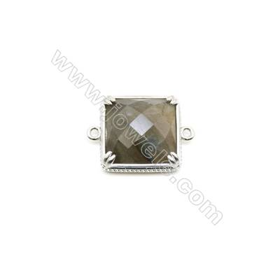 Natural Square Labradorite Pendant Connector, Silver Plated Brass, Size 21x21mm, Hole 1.5mm, x 1piece