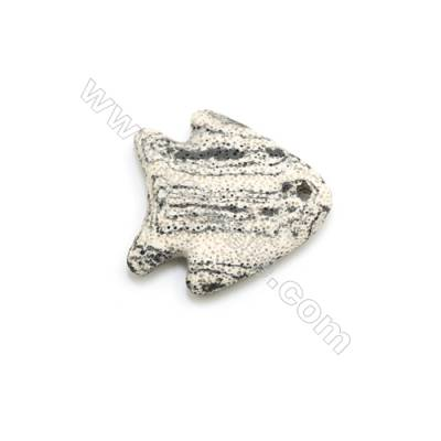 White Lava Rock Pendant Charms, Fish, Size 52x53mm, Hole 4mm, 25pcs/pack