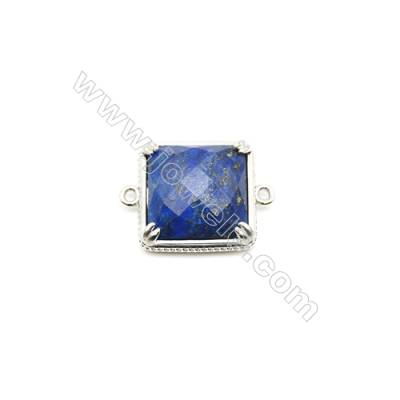 Natural Square Lapis Lazuli Pendant Connector, Silver Plated Brass, Size 21x21mm, Hole 1.5mm, x 1piece