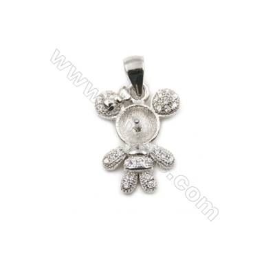 Micro pave cubic zircon 925 sterling silver platinum plated pendants, 13x17mm, x 5 pcs, tray 6mm, pin 0.7mm