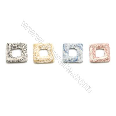 Multicolored Lava Rock Pendant Charms, Square, Size 47x47mm, Hole 19mm, 25pcs/pack