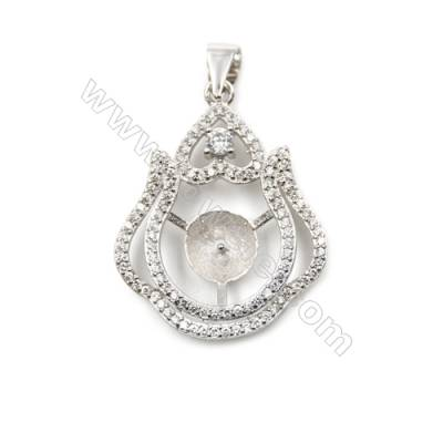 925 sterling silver platinum plated pendants, Micro pave cubic zircon, 21x27mm, x 5pcs, tray 7mm, pin 0.5mm