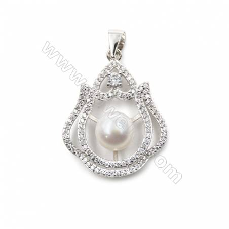 925 sterling silver platinum plated pendants  Micro pave cubic zircon  21x27mm x 5pcs  tray 7mm  pin 0.5mm