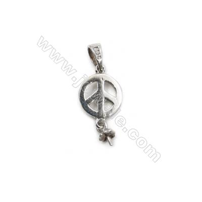 Micro pave 925 sterling silver platinum plated Pendant, 8x12mm, x 15pcs, tray 3mm, pin 0.5mm