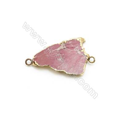 Natural Irregular Laguna lace agate (Mexican Agate) Pendant Connector, Gold Plated Brass, Size 28x40mm, Hole 3.5mm, x 1piece