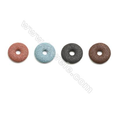 Multicolored Lava Rock Pendant Charms, Round, Diameter 49mm, Hole 11mm, 30pcs/pack