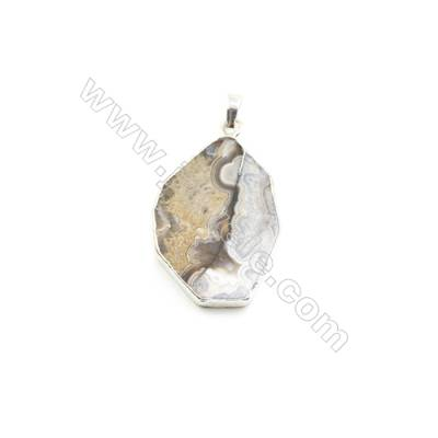 Natural Irregular Laguna lace agate (Mexican Agate) Pendant, Silver Plated Brass, Size 26x36mm, x 1piece