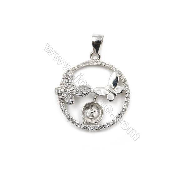 Sterling silver 925 platinum plated mircro pave CZ pendant, 20mm, x 5mm, tray 5mm, needle 0.6mm