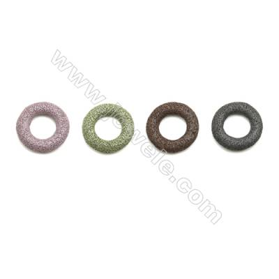 Multicolored Lava Rock Pendant Charms, Donut, Size 50mm, Hole 25mm, 30pcs/pack