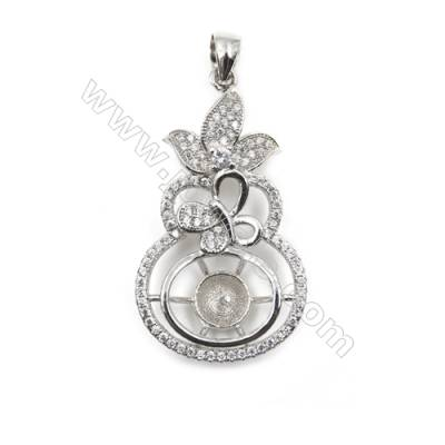 Micro setting CZ 925 sterling silver platinum plated pendants, 20x36mm, x 5pcs, tray 7mm, needle 0.7mm