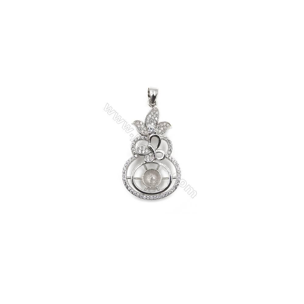 Micro setting CZ 925 sterling silver platinum plated pendants, 20x36mm, x 5pcs, tray 7mm, needle 0.7mm