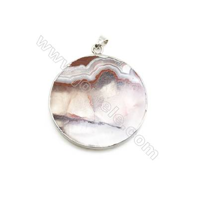Natural Round Laguna lace agate (Mexican Agate) Pendant, Silver Plated Brass, Diameter 40mm, x 1piece