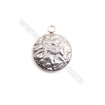 304 Stainless Steel Charm  Round  Diameter 18mm  Hole 2mm  30 pcs/pack