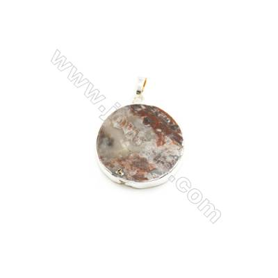 Natural Round Laguna lace agate (Mexican Agate) Pendant, Gold Plated Brass, Diameter 30mm, x 1piece
