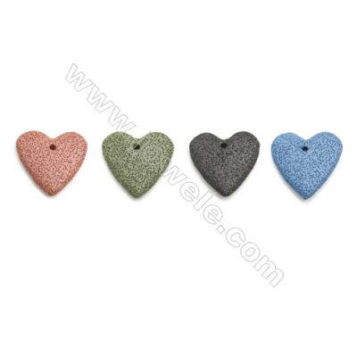 Multicolored Lava Rock Pendant Charms, Heart, Size 50mm, Hole 4mm, 30pcs/pack