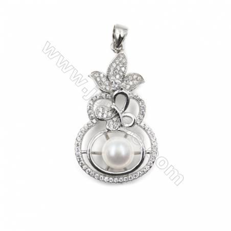 Micro setting CZ 925 sterling silver platinum plated pendants-D5578 20x36mm x 5pcs disc diameter 7mm needle diameter 0.7mm