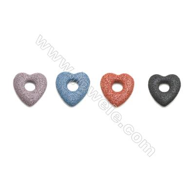 Multicolored Lava Rock Pendant Charms, Heart, Size 49x53mm, Hole 14mm, 30pcs/pack