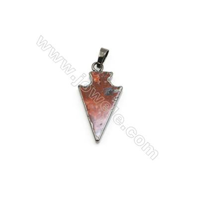 Natural Arrow Laguna lace agate (Mexican Agate) Pendant, Black Plated Brass, Size 18x32mm, x 1piece