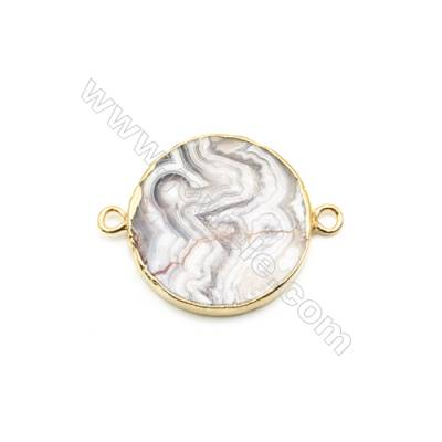 Natural Flat Round Laguna lace agate (Mexican Agate) Pendant Connector, Gold Plated Brass, Diameter 31mm, Hole 4mm, x 1piece