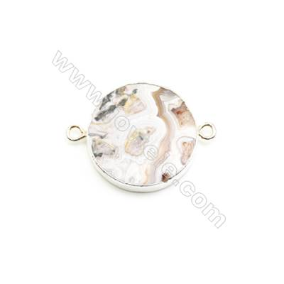 Natural Flat Round Laguna lace agate (Mexican Agate) Pendant Connector, Silver Plated Brass, Diameter 31mm, Hole 4mm, x 1piece