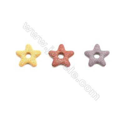 Multicolored Lava Rock Pendant Charms, Star, Size 45x46mm, Hole 4mm, 30pcs/pack