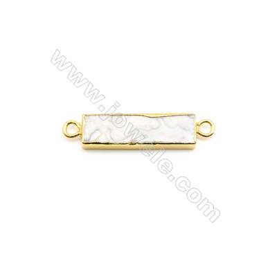 Natural Rectangle Laguna lace agate (Mexican Agate) Pendant Connector, Gold Plated Brass, Size 9x30mm, Hole 3mm, x 1piece