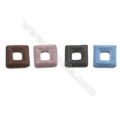 Multicolored Lava Rock Pendant Charms, Square, Size 46x46mm, 30pcs/pack