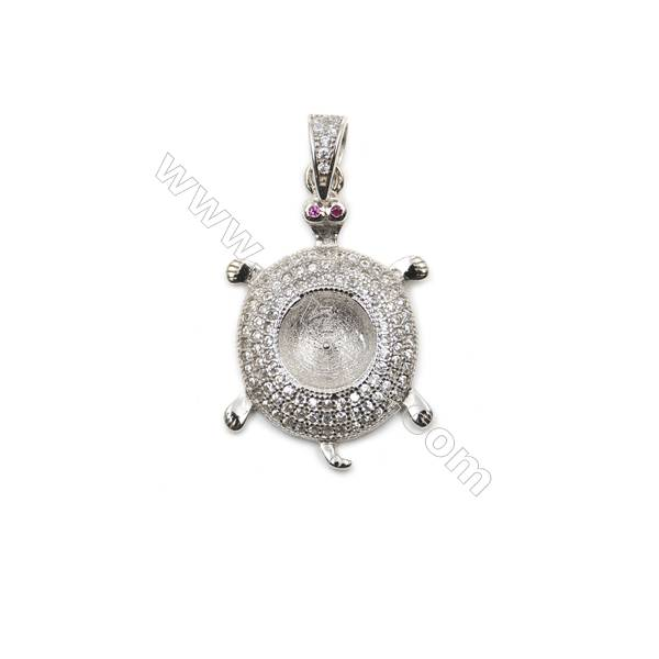 Wholesale micro pave CZ 925 sterling silver platinum plated pendants, 18x26mm, x 5pcs, tray 8mm, pin 0.6mm