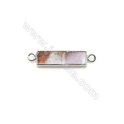 Natural Rectangle Laguna lace agate (Mexican Agate) Pendant Connector, Silver Plated Brass, Size 10x40mm, x 1piece