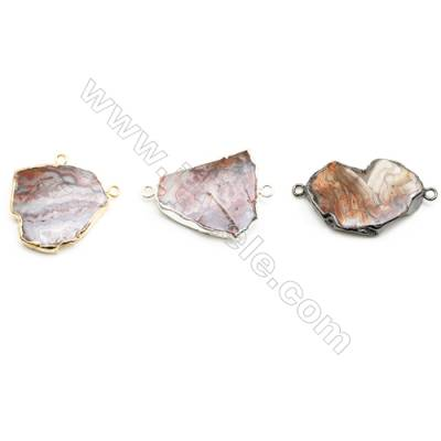 Natural Irregular Laguna lace agate (Mexican Agate) Pendant Connector, Silver Plated Brass, Size 30~34x35~42mm, x 1piece
