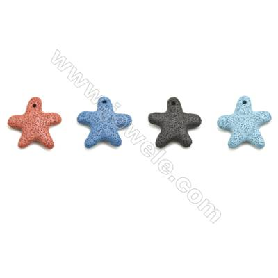 Multicolored Lava Rock Pendant Charms, Star, Size 52x54mm, Hole 3mm, 30pcs/pack
