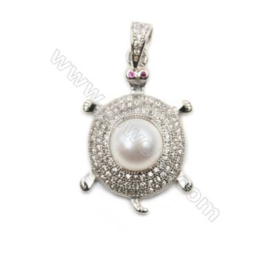 Wholesale micro pave CZ 925 sterling silver platinum plated pendants-D5659 18x26mm x 5pcs disc diameter 8mm pin diameter 0.6mm