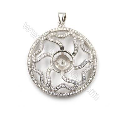 Sterling silver platinum plated micro pave CZ Pendants, 32mm, x 5pcs, tray 10mm, pin 0.4mm