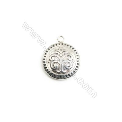 304 Stainless Steel Charm  Round  Diameter 23mm  Hole 2.5mm  20 pcs/pack