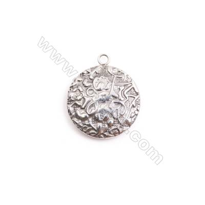 304 Stainless Steel Charm  Round  Diameter 23mm  Hole 2mm  20 pcs/pack